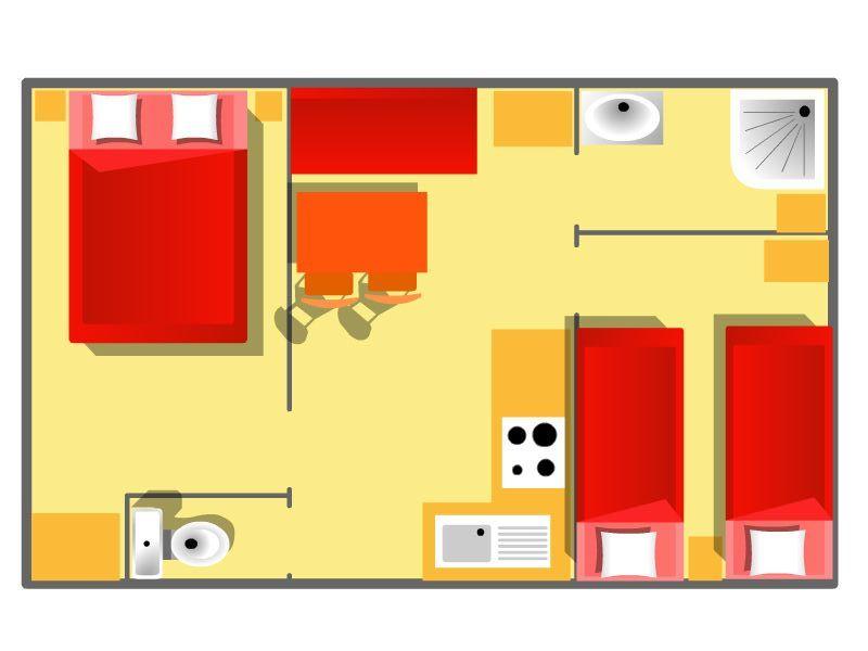 Plan mobil-home 2/4pers à Saint Denis d'Oléron